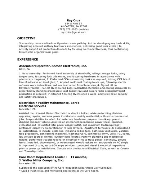 sle resume for machinist free sle resume machine operator sle resume for heavy