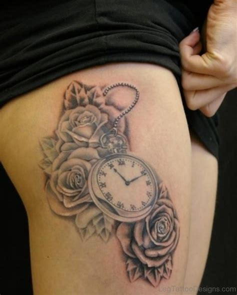 amazing thigh tattoo designs 45 wonderful clock tattoos on thigh