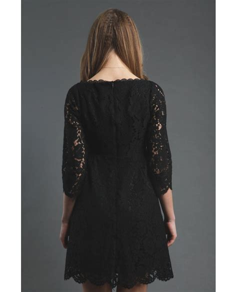 black lace short casual party dress  sleeves