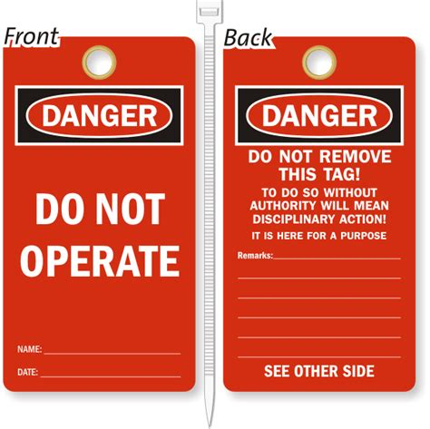 Lockout Tags Safety Tags Free Shipping Lock Out Tags Template