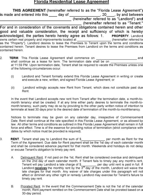 Commercial Lease Agreement Florida Template by Free Florida Residential Lease Agreement Formxls