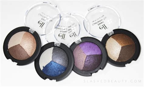 Baked Eyeshadow Trio Smoky Sea review swatches e l f baked eyeshadow slashed
