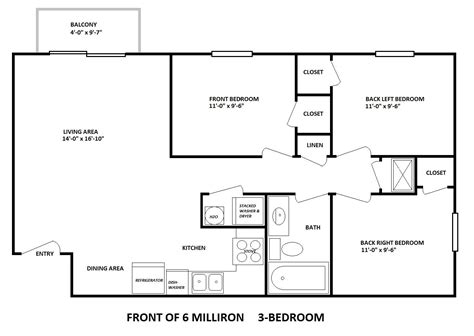 3 bedroom 3 bath floor plans 6 milliron 3 bedroom layout bobcat rentals ohio college housing athens ohio