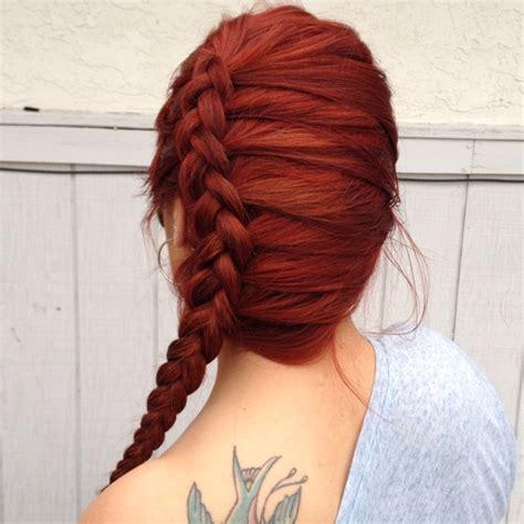 Braided Hairstyles Red Hair   side braid red hair hair make up pinterest