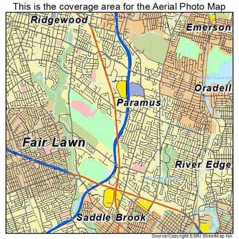 aerial photography map of paramus nj new jersey
