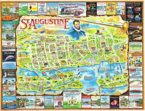 map of florida showing st augustine florida st augustine map postcard a photo on flickriver