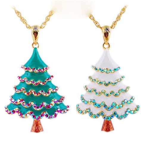 2015 classic christmas tree necklace 18k gold chain
