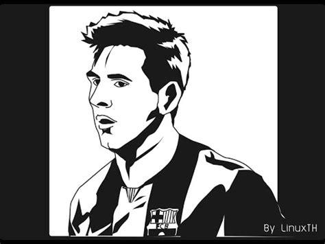 Kaos Premium Messi Logo Black inkscape drawing leo messi ขาวดำ