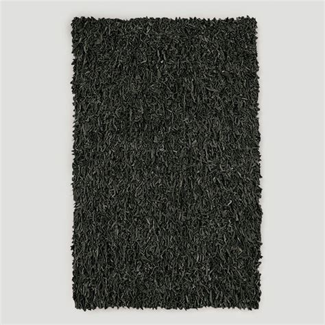 leather shag rug black world market