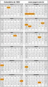 Calendario De 1953 Calend 225 Ano 1952 Para Imprimir Em Formato Pdf E Imagem
