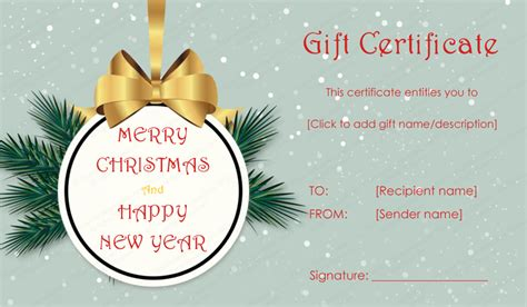 tree badge christmas gift certificate template