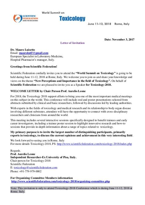 invitation letter to doctors dr mauro luisetto official invitation letter world summint toxicolog