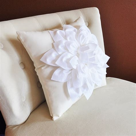 Ivory Pillow by White Dahlia Flower On Ivory Pillow Accent Pillow Throw Pillow