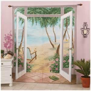 Island breeze tropical beach art mural curtain window panel pair 72 quot x
