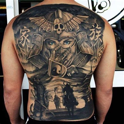 whole back tattoos large black and white whole back of samurai