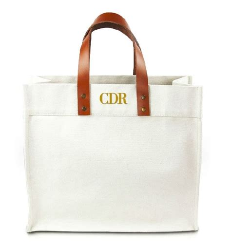 Monogramme Toto by Fulham Personalized Monogram Canvas Tote Bag W Leather
