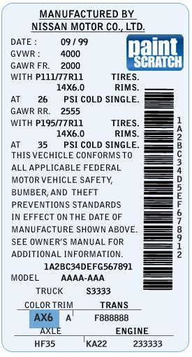 nissan touch up paint color code and directions for