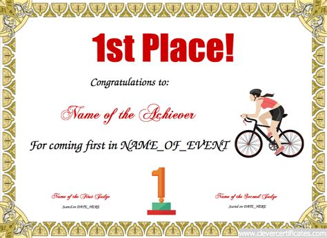 1st place free certificate templates for kids sport and