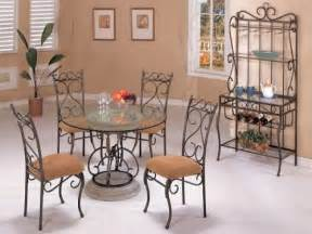 Wrought Iron Dining Room Furniture by Round Black Wrought Iron Table With Curving Legs Also