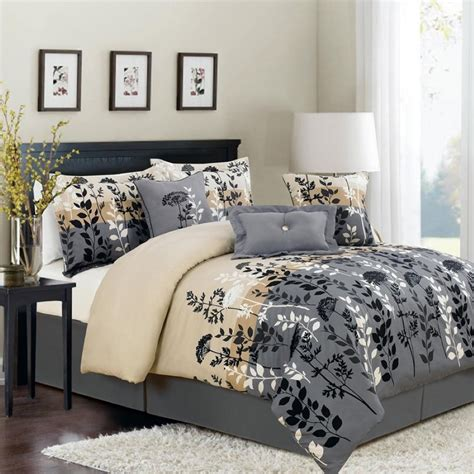 grey full size comforter gray white and beige cotton leaves pattern king comforter