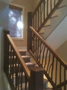 Exterior Stair Handrails Metal Reclaimed Pine And Hickory Railings Rustic Staircase