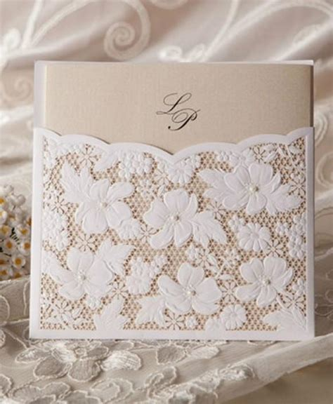 Wedding Invitation Cards Lace by Cheap Flower Lace Pocket Card Wedding Invitation 1364138