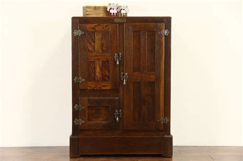 sold sanitax signed oak  antique ice box