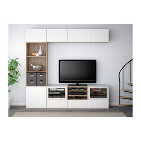 ikea uk besta best 197 tv storage combination glass doors walnut effect