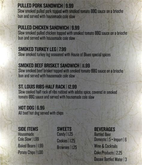 House Of Blues Orlando Menu by New Smokehouse Service Food Counter Opens At