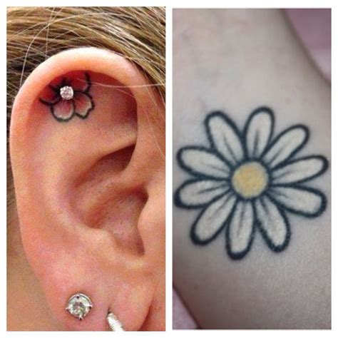 inner ear tattoos innereartattoo eartattoo daisytattoo inner ear