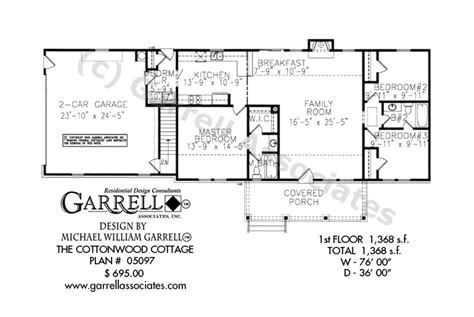 single story ranch house plans cottonwood cottage house plan house plans by garrell associates inc