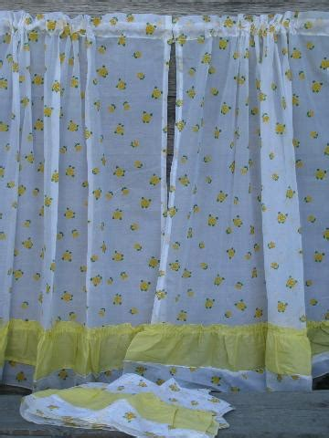 white vintage curtains crisp white kitchen curtains w yellow flocked flowers