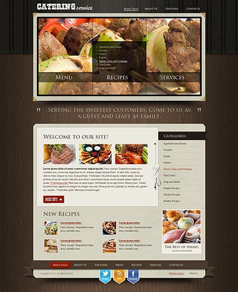 templates for catering website recipes and catering html website template best website