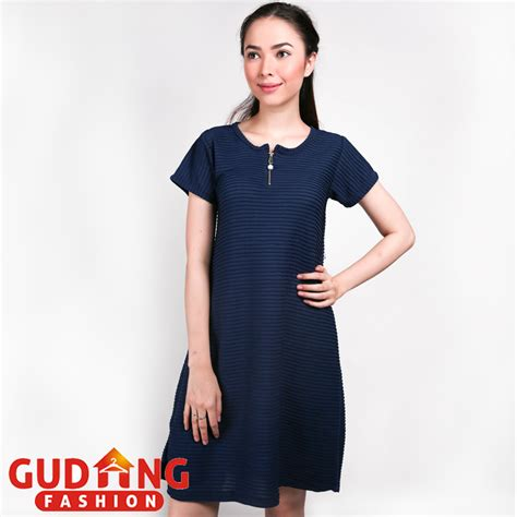 Baju Dress Wanita Navy baju casual wanita dress babat biru navy drs 07 gudang