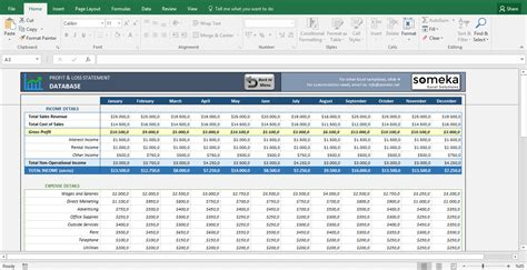 profit and loss statement template goods services excel