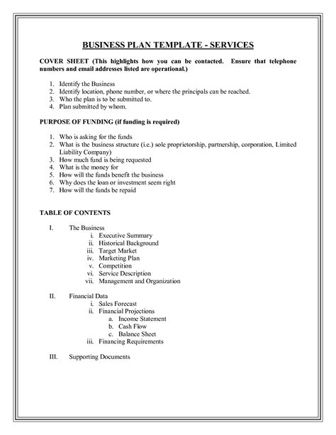 free basic business plan template small business plan templates documents and pdfs