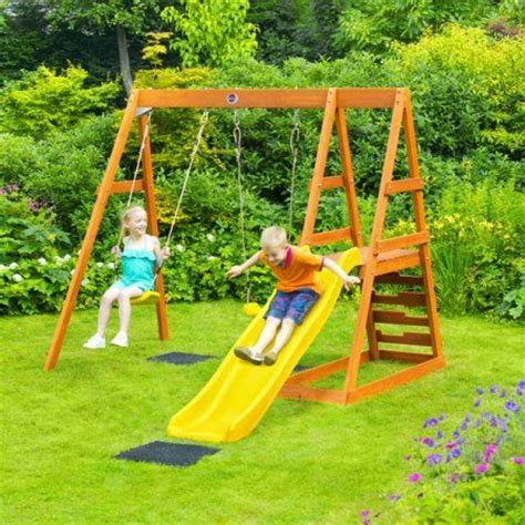 timber swing set plans wooden swing and slide set woodworking projects plans