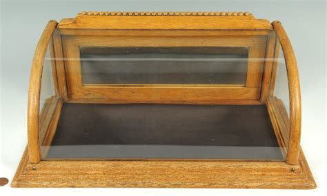 Countertop Display Box by Lot 652 Oak And Curved Glass Countertop Display