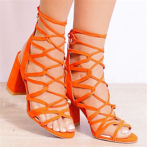 orange strappy sandals 1 orange strappy sandals from shoe closet uk