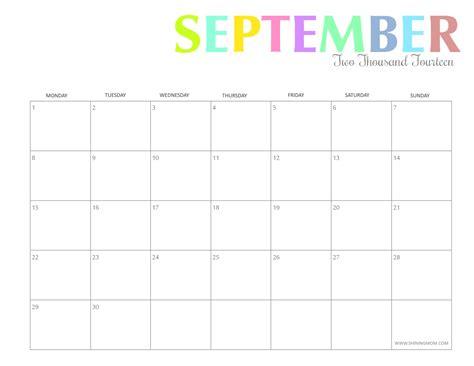Calendar 2015 September Printable Free Printable Colorful 2014 Calendars By Shining