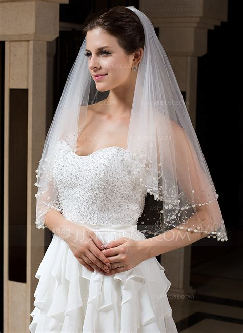 two tier bridal veils with beaded edge 006035735