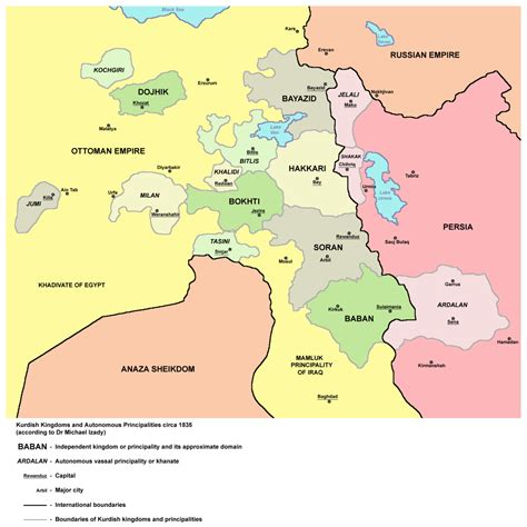 kurdistan map kurdish chiefdoms