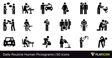 Open Home Plans by Daily Routine Human Pictograms 50 Premium Icons Svg Eps