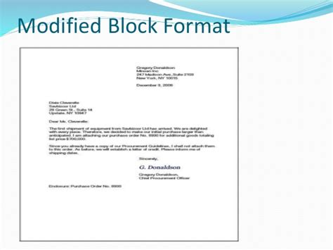 Business Letter In Modified Block Format business letter formats