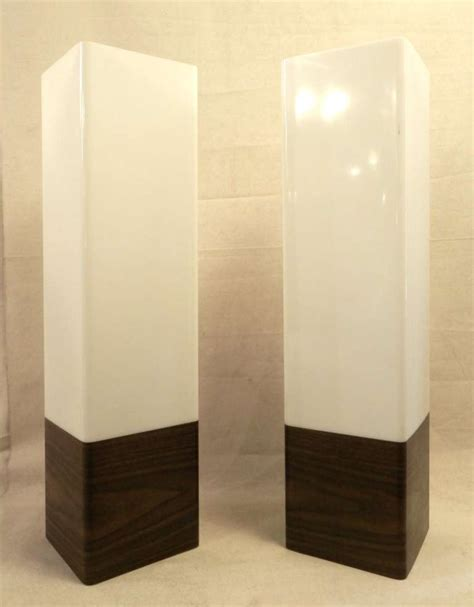 table l with switch on base mid century modern lucite box ls w faux rosewood for