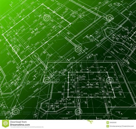 Draw House Blueprints house plan on green background vector blueprint stock