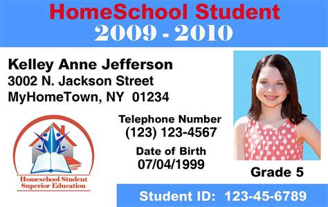 homeschool id template make id cards id card printers home school templates