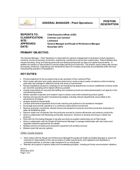 plant manager resume exles exle information technology operations manager resume