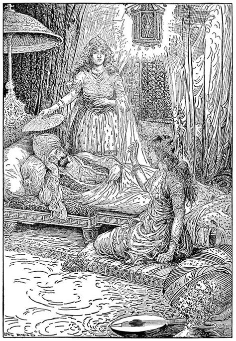 Sheherazade Relating Her First Story – Old Book Illustrations
