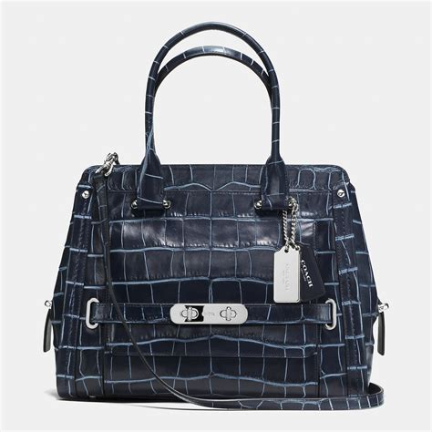 Coach Emboss lyst coach swagger frame satchel in denim croc embossed
